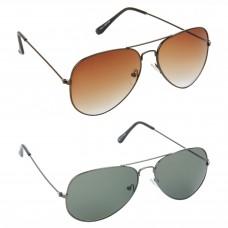 HRINKAR Aviator Brown Lens Brown Frame Sunglasses, Aviator Green Lens Grey Frame Sunglasses - HCMB378