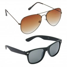Metal Frame Brown Lens Brown Frame Sunglasses, Plastic Frame Grey Lens Black Frame Sunglasses - LOW-HCMB382