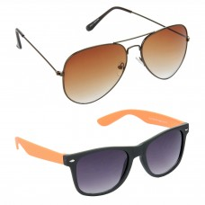 Metal Frame Brown Lens Brown Frame Sunglasses, Plastic Frame Grey Lens Black Frame Sunglasses - LOW-HCMB383