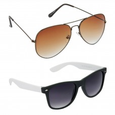 Metal Frame Brown Lens Brown Frame Sunglasses, Plastic Frame Grey Lens Black Frame Sunglasses - LOW-HCMB387