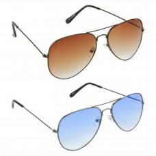 HRINKAR Aviator Brown Lens Brown Frame Sunglasses, Aviator Blue Lens Grey Frame Sunglasses - HCMB389