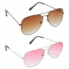 Aviator Brown Lens Brown Frame Sunglasses, Aviator Red Lens Silver Frame Sunglasses Minor Scratch - LOW-HCMB390