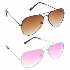 HRINKAR Aviator Brown Lens Brown Frame Sunglasses, Aviator Pink Lens Silver Frame Sunglasses - HCMB391