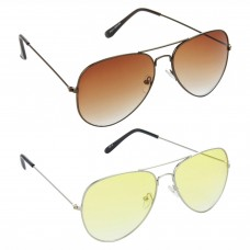 Aviator Brown Lens Brown Frame Sunglasses, Aviator Yellow Lens Silver Frame Sunglasses Minor Scratch - LOW-HCMB392