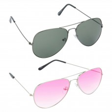 Aviator Green Lens Grey Frame Sunglasses, Aviator Pink Lens Silver Frame Sunglasses Minor Scratch - LOW-HCMB436