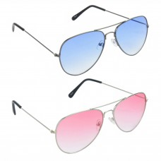 HRINKAR Aviator Blue Lens Grey Frame Sunglasses, Aviator Red Lens Silver Frame Sunglasses - HCMB523