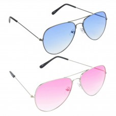 Metal Frame Blue Lens Grey Frame Sunglasses, Metal Frame Pink Lens Silver Frame Sunglasses - LOW-HCMB524