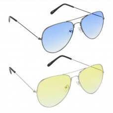 Metal Frame Blue Lens Grey Frame Sunglasses, Metal Frame Yellow Lens Silver Frame Sunglasses - LOW-HCMB525