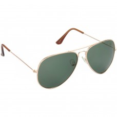 Trail Blazer Metal Frame Green Lens & Golden Frame Sunglasses for Men and Women - HRS05