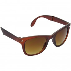 Stylish Plastic Frame Brown Lens & Brown Frame Sunglasses for Men and Women - HRS09