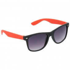 Stylish Wayfarer Grey Lens & Gray-Red Frame Sunglasses for Men and Women Minor Scratch - HRS18