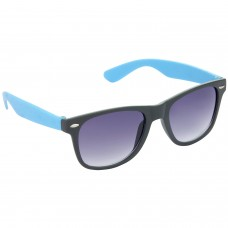 Stylish Plastic Frame Grey Lens & Black-Blue Frame Sunglasses for Men and Women - HRS21