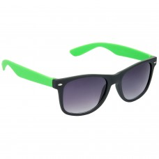 Stylish Wayfarer Grey Lens & Black-Green Frame Sunglasses for Men and Women Minor Scratch - HRS22