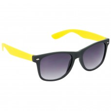 Stylish Plastic Frame Grey Lens & Black-Yellow Frame Sunglasses for Men and Women - HRS23