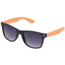 Stylish Plastic Frame Grey Lens & Black-Orange Frame Sunglasses for Men and Women - HRS25