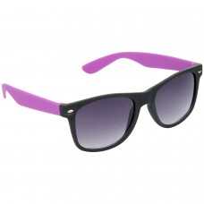 Stylish Plastic Frame Grey Lens & Black-Violet Frame Sunglasses for Men and Women - HRS26