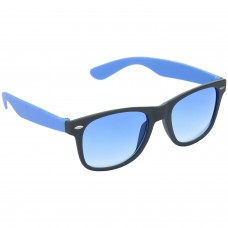 Stylish Plastic Frame Blue Lens & Black-Blue Frame Sunglasses for Men and Women - HRS27