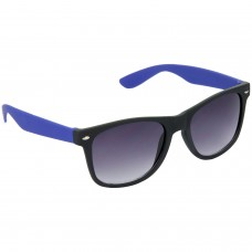 Stylish Plastic Frame Grey Lens & Black-Blue Frame Sunglasses for Men and Women - HRS28