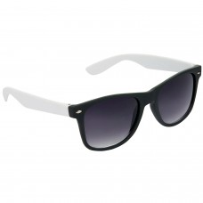 Stylish Plastic Frame Grey Lens & Black-White Frame Sunglasses for Men and Women - HRS29