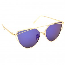 TARA JARMON TJ-BX328-GLD-BLU_1 Cat-eye Sunglasses (Blue, Multicolor)