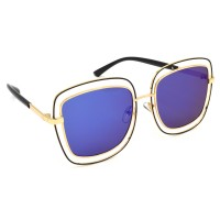TARA JARMON TJ-BX329-GLD-BLU_1 Over-sized Sunglasses (Blue, Violet)