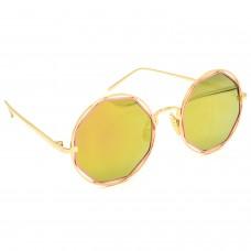 TARA JARMON TJ-BX331-GLD-GLD_1 Round Sunglasses (Golden)