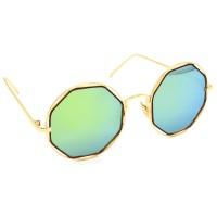 TARA JARMON TJ-BX331-GLD-LGLD_1 Round Sunglasses (Blue, Golden)