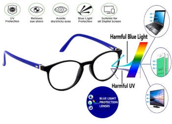 Hrinkar Men's and Women's Oval Cat-Eyed Full Rim Spectacle with Cut Lens for Computer