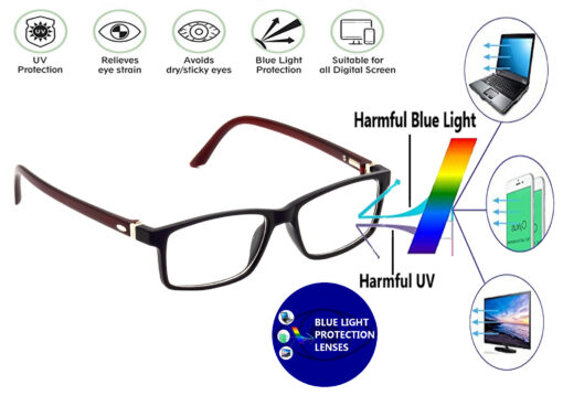 Hrinkar Rectangle Square Full Rim Latest Spectacle With Blue Cut Lens For Computer