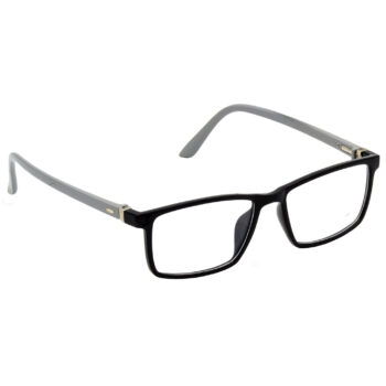 Hrinkar Rectangle Square Full Rim Spectacle with Blue Cut Lens (Black and Grey) - extra -1