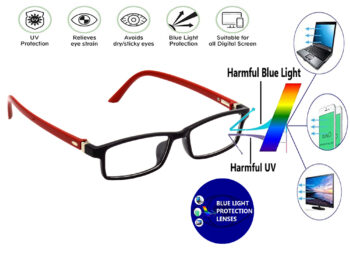 Hrinkar Kid's Rectangle Square Full Rim Spectacle with Blue Cut Lens for Computer