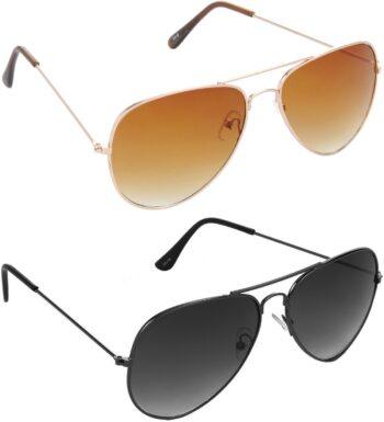 Air Strike Brown Lens Gold Frame Pilot Stylish For Sunglasses Men Women Boys Girls
