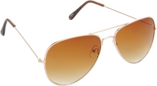 Air Strike Brown Lens Gold Frame Pilot Stylish Sunglasses For Men Women Boys Girls - extra