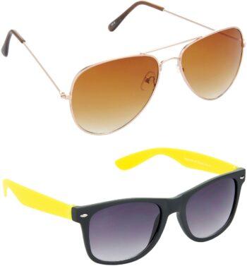 Air Strike Brown Lens Gold Frame Pilot Stylish Sunglasses For Men Women Boys Girls