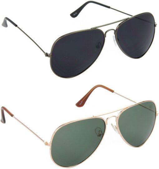 Air Strike Black Lens Grey Frame Pilot Stylish Sunglasses For Men Women Boys Girls