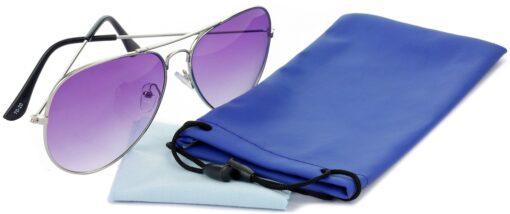 Air Strike Violet Lens Silver Frame Pilot Stylish For Sunglasses Men Women Boys Girls - extra 4