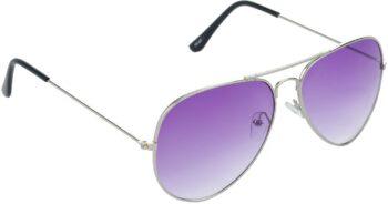 Air Strike Violet Lens Silver Frame Pilot Stylish Sunglasses For Men Women Boys Girls - extra