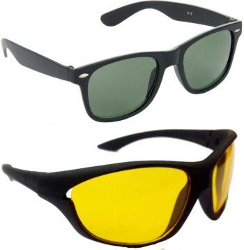 Air Strike Yellow Lens Black Frame Rectangular Stylish Sunglasses For Men Women Boys Girls