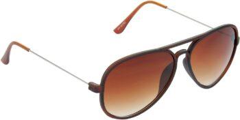 Air Strike Grey Lens Brown Frame Pilot Stylish Sunglasses For Men Women Boys Girls - extra