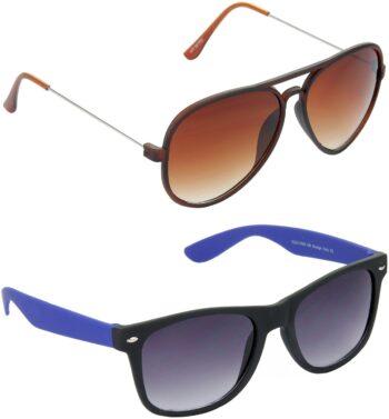 Air Strike Grey Lens Brown Frame Pilot Stylish Sunglasses For Men Women Boys Girls
