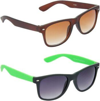 Air Strike Grey Lens Brown Frame Rectangular Stylish Sunglasses For Men Women Boys Girls