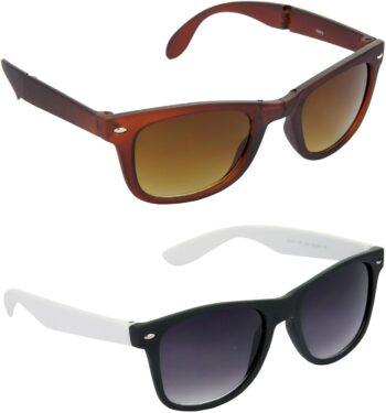Air Strike Brown Lens Brown Frame Rectangular Stylish Sunglasses For Men Women Boys Girls
