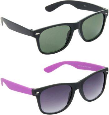 Air Strike Green Lens Black Frame Rectangular Stylish For Sunglasses Men Women Boys Girls