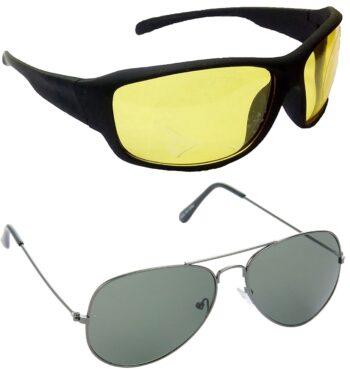 Air Strike Yellow Lens Black Frame Sports Sunglass Stylish For Sunglasses Men Women Boys Girls