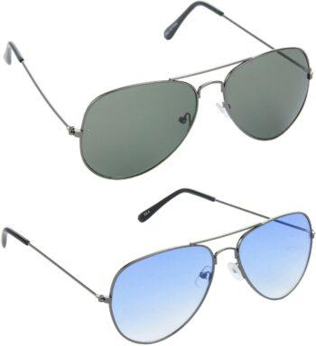 Air Strike Green Lens Grey Frame Pilot Stylish Sunglasses For Men Women Boys Girls