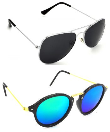 Air Strike Black & Blue & Green Lens Silver & Black Frame Sunglasses For Men Women Boys & Girls - HCMBO1003