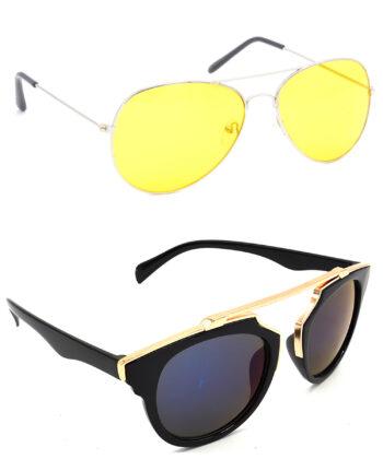 Air Strike Yellow & Grey Lens Silver & Golden Frame Fashion Goggles For Men Women Boys & Girls - HCMBO1127