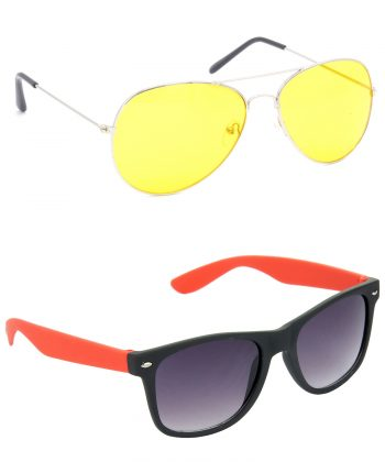 Air Strike Yellow & Grey Lens Silver & Red Frame Sunglasses For Men Women Boys & Girls - HCMBO1173