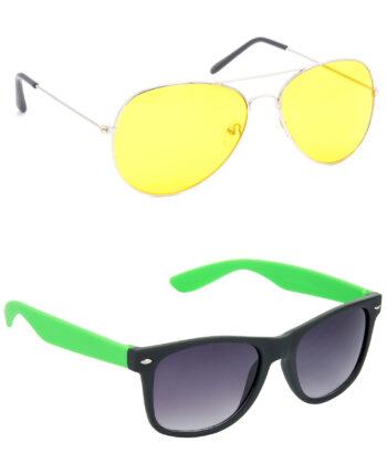 Air Strike Yellow & Grey Lens Silver & Green Frame Best Sunglasses For Men Women Boys & Girls - HCMBO1177