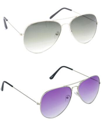 Air Strike Green & Violet Lens Silver Frame Sunglasses For Men Women Boys & Girls - HCMBO1292